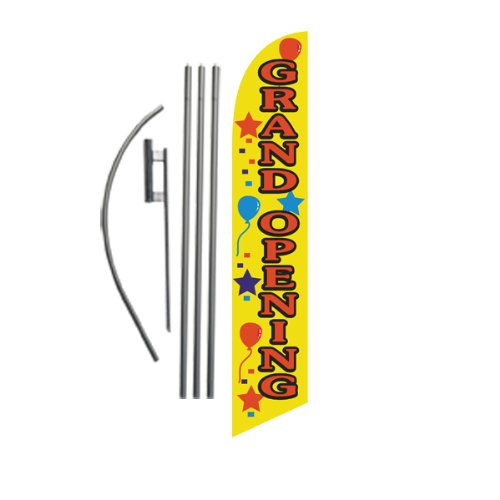 Grand Opening (yellow) 15ft Feather Banner Swooper Flag Kit - INCLUDES 15FT POLE KIT w/ GROUND SPIKE (Outdoor Opening Banner)