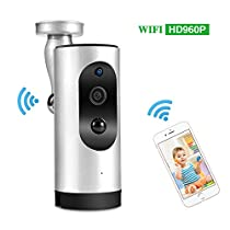 WiFi Security IP Camera Battery-Powered Wireless 960P Surveillance Camera with Motion Detection and Two-way Audio & Night Vision (Silver)