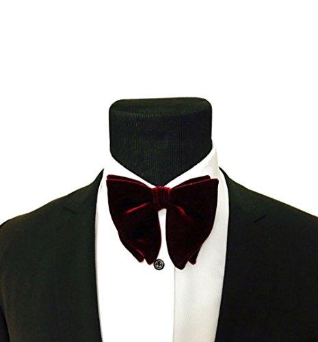 Mens FERUCCI Oversized Bow Tie - Tuxedo Burgundy Velvet Bowtie, Mens big bow tie - Oversized Bow Tie
