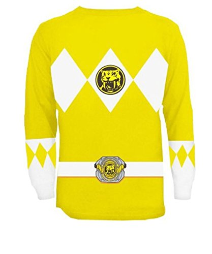 [The Power Rangers Long Sleeve Ranger Costume Yellow T-shirt (Adult Medium)] (Yellow Samurai Ranger Costume)