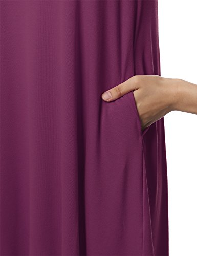 Dark Stretchy Awesome21 Loose Plum Tunic Dress Short Sleeve Aawdrs0007 Casual Fit Women's 7tqPvqraw