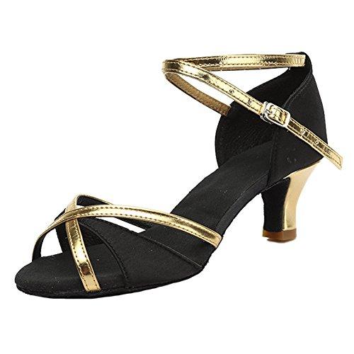 Cordón Zapatos Latino de Cuero Baile Salón Negro de Mujer Baile 805 HROYL AngaTa