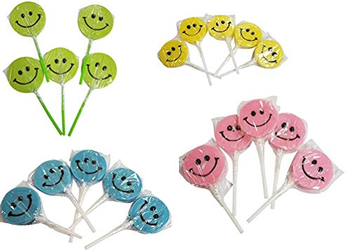 (48 Count Small Happy Smiley Face Lollipops Suckers - 4 Colors)