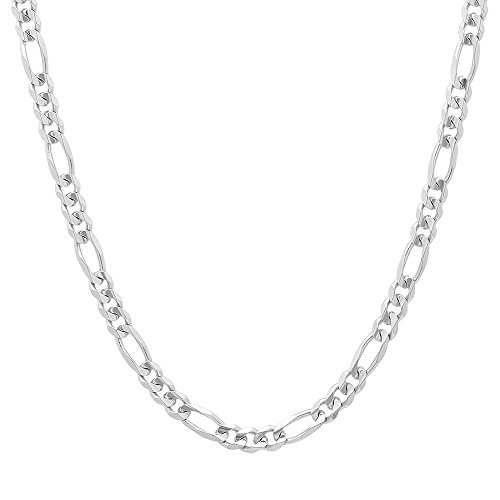 NYC Sterling Unisex 4MM Flat Light Solid Sterling Silver Figaro Chain Necklace, Made in Italy. ()