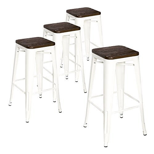LCH Metal Industrial Bar Stools, Set of 4 Indoor/Outdoor Counter Stackable Barstool with Wood Seat, 500LB Limit (White, 30 Inch) - High End Contemporary Furniture