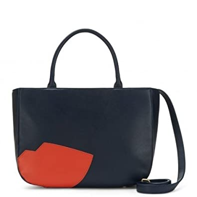 7bfdc191487a5 Lulu Guinness Abstract Lips Smooth Leather Wanda Handbag RRP £350 (Midnight  Blue)  Amazon.co.uk  Shoes   Bags