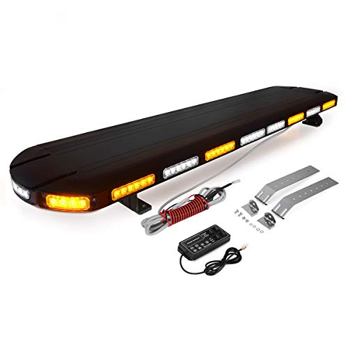 YITAMOTOR Strobe Light Bar, 300W 48 Inch Amber White Emergency Warning Security Strobe Beacon Light Bar-Extreme High Intensity Low Profile Rooftop Hazard Warning Light Bar for Tow Truck Vehicle-120LED ()