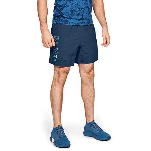 (Under Armour Speed Stride Graphic 7'' Woven Shorts, Petrol Blue//Reflective, X-Large)