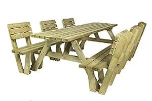 Economy mesa de picnic 240cm con 6Respaldo (patentado)