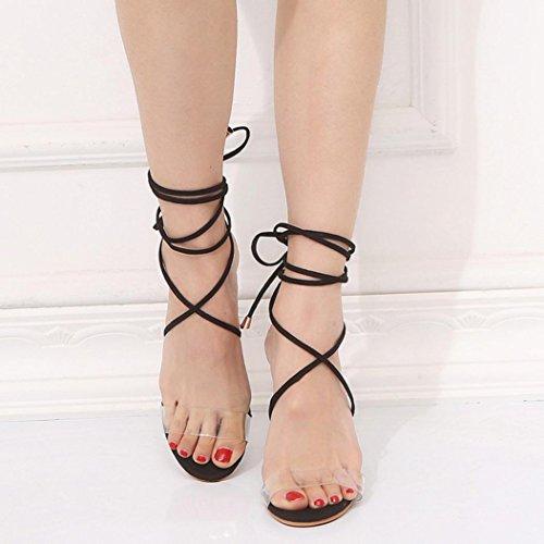 Bescita Summer Women Ladies Sandals Cross Strap Super High Heels Party Ankle Square Heel Shoes Black j9AQu