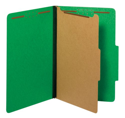 Globe-Weis/Pendaflex Colored Classification Folders, 2/5 Cut Tab, 1 Divider, Embedded Fasteners, Legal Size, Dark Green, 10 Per Box (28733)