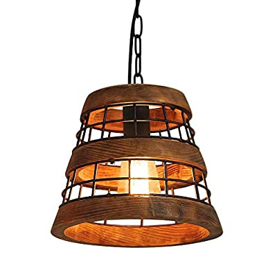 Anmytek Wood and Metal Chandelier Iron Net Frame Rustic Chandelier Lighting Metal Pendant Light Retro Ceiling Light or Edison Vintage Hanging Light Fixture 1-Light (P0021)