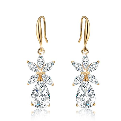 24k Golden Earrings (Incaton Flower Pear Shape Combination Earrings Best Christmas Jewelry Gifts for Women, Golden)