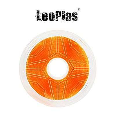 LeoPlas New Store USA Warehouse 1.75mm Transparent Translucent Orange PLA Filament 8 Colors 1Kg 2.2 Pounds FDM 3D Printer Pen Supplies Plastic Printing Material Polylactic Acid
