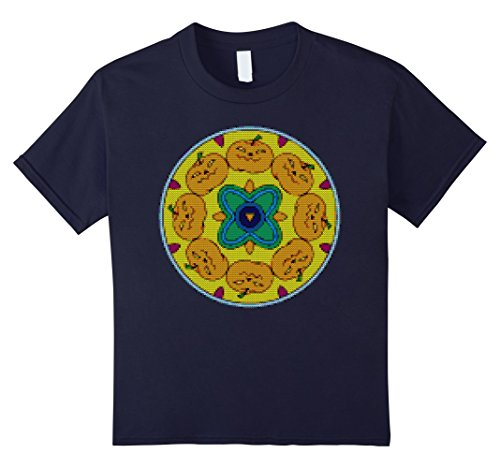 Kids Ugly Halloween Pumpkin Mandala Sweater Textured T-Shirt 12 (Homemade Halloween Costumes Photos)