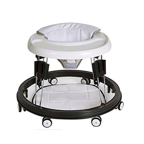 Baby Walker - Con Ruedas Multifunción Niño Anti-Rollover Bebé One-Touch Plegable Baby Walker Aprende A Manejar 3Rd Gear Ajustable,White