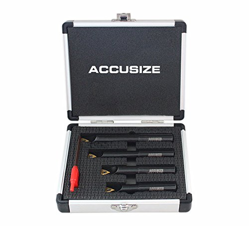 (Accusize Industrial Tools 4 Pc 1/2'' Round Shank Indexable Boring Bar Set with Tcmt21.50 Carbide Inserts, 90 Degree, 2627-9104)