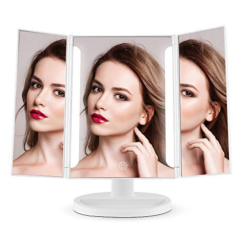 Easehold Led Lighted Vanity Mirror Make Up Tri-Fold with 38Pcs Lights Ultra-Thin 2x/5x/10x Magnifying 180 Degree Free Rotation Table Countertop Cosmetic Bathroom Mirror(White) -