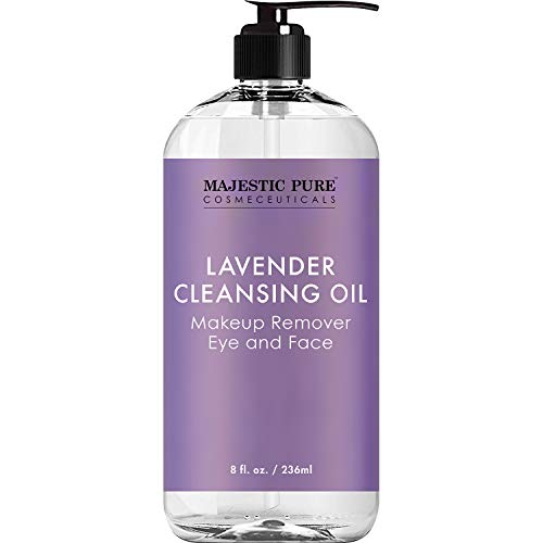 MAJESTIC PURE Lavender Cleansing Oil – Makeup Remover for Eye and Face – Oil Cleanser, for All Skin Types, 8 fl oz