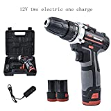 42Vf Rechargeable Drill Lithium Drill, Household Pistol Drill Electric Drill, Electric Screwdriver Electric Turn, Lithium Ion Compact Cordless Drill,E