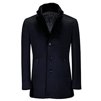 Ding Tong Men Autumn Winter Fur Collar Lined Black Wool