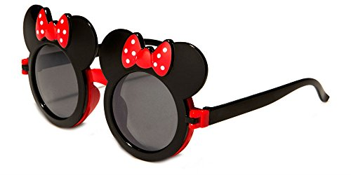 WebDeals - Kids Mouse Ear Round Flip Out Sunglasses (Black/Red -