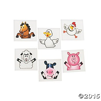 144 Farm Animal TATTOOS - PARTY FAVORS - COWS Pigs DUCKS - Daycare - DOCTOR - Classroom - -