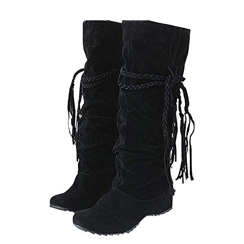 Qiangsoo Women's Mid Calf Boots Ruched Faux Suede Tassel Shoes Black 8.5