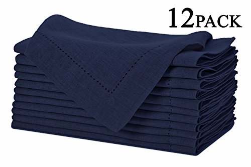 Pure Linen Oversized Napkins 12 Pack - Pure Linen Hemstitch Napkins - (Set of 12) Size 20x20 Navy - Hand Crafted and Hand Stitched Napkins with Hemstitch detailing on Genuine Linen Fabric