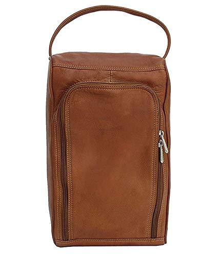 Piel Custom Personalized Leather Golf U-Zip Shoe Bag in Saddle