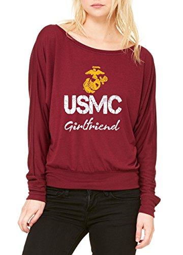 Ugo USMC Girlfriend Proud U.S. Marines Fight to Win Matching Couple w Girlfriend Women's Flowy Long Sleeve Off Shoulder Tee
