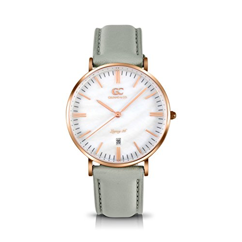 Gelfand & Co. Women's Minimalist Watch Light Gray Leather Trimble 36mm Rose Gold with Pearl Dial