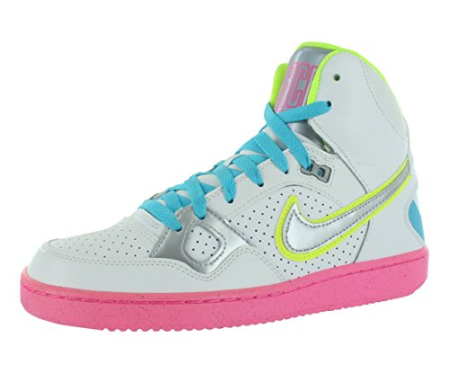 nike womens son of force mid trainers 616303 sneakers shoes (us 6.5, white metallic silver pink glow 100)