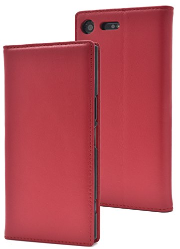 PLATA Xperia XZ Premium SO-04J ケース 手帳型 ラム シープスキン 羊革 本革 レザー カバー 【 レッド 赤 あか red 】