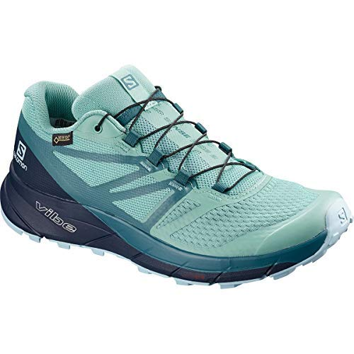 Salomon Women's Sense Ride 2 GTX Invis Fit Trail Running Shoes, Nile Blue/Navy Blazer/Mallard Blue, 7.5 by SALOMON