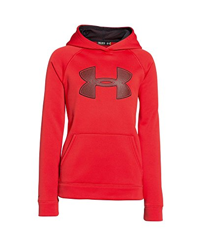 Under Armour Boys' Fleece Storm Big Logo Hoodie, Risk Red (600), X-Small