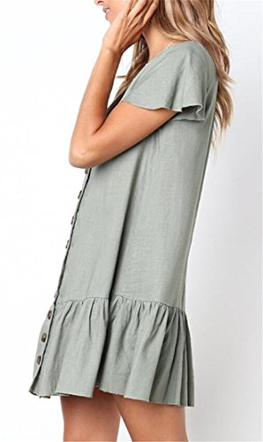 Ruffle Dress V Mini Neck Green Stylish Buttons Short Women Domple Sleeve Solid X7vUxw