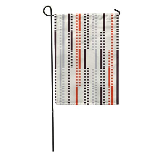 Semtomn Garden Flag Beige Stripe Abstract Ornate Dashed Stroke Red Pattern Geometric Bold Home Yard House Decor Barnner Outdoor Stand 12x18 Inches Flag ()