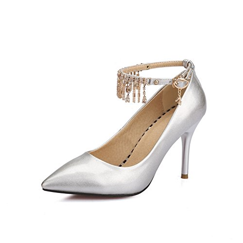 Balamasa Ladies Metal Ornament Nappe In Pelle Imitata Pumps-shoes Argento