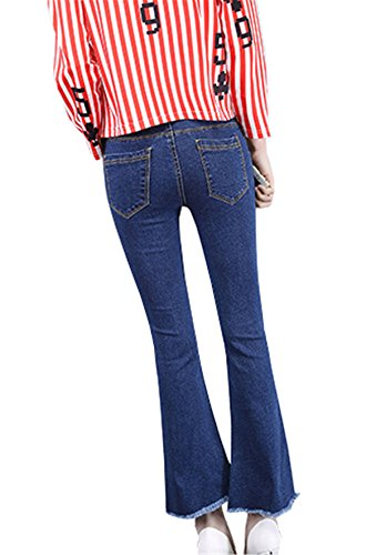 Eleganti Blu Pantaloni Irregolare Clothing Flare Coco Skinny Jeans Fashion Unita Donna Calzoni Pantalone Tinta Cracking qwA66Pxgp
