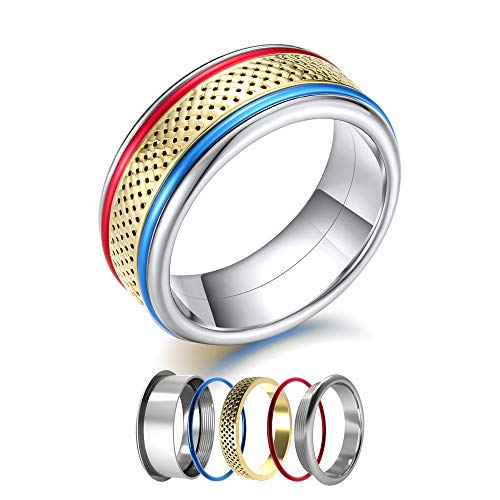 Floya Interchangeable Stackable Rings Punk Rock Spinner Ring Symphony Stainless Steel Collection Accessories Inner ()