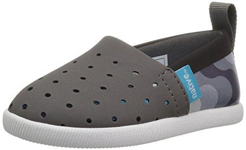 Zapato de barco infantil con estampado de Venecia de Nativo para niños, Dublin Grey/Jiffy Black/Shell White/Dublin Grey...