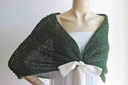 Shrug Knit Wrap Dark Ready Green Cape Wedding Mohair Ship Bridal Hand To Capegreen Boleroglitter Ygf6vb7y
