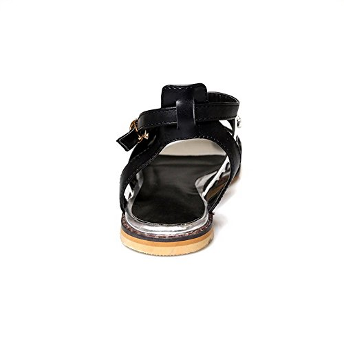 Soft Sandals Womens Heel Open White Toe Amoonyfashion Buckle Assorted Material No Color U5wWq7v