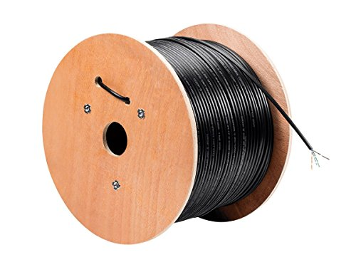 Monoprice Cat5e Ethernet Bulk Cable - Network Internet Cord - Solid, 550Mhz, STP, Pure Bare Copper Wire, Outdoor, 24AWG, 1000ft, Black from Monoprice