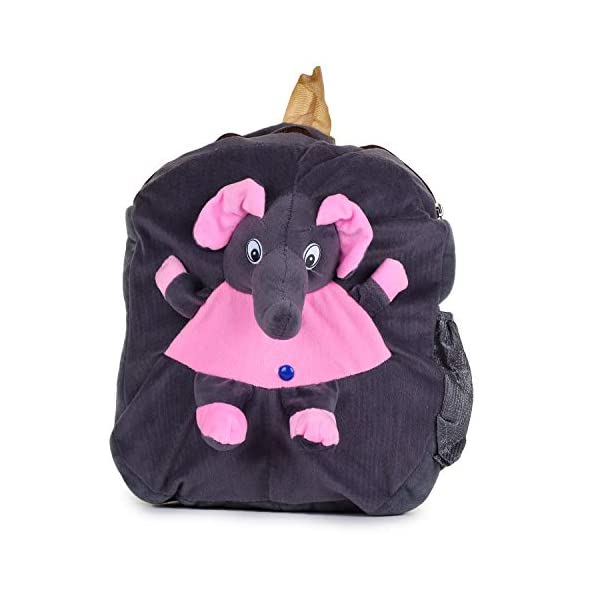 Brands Bucket Soft Plush Fabric Multicolour Printed School Bag for Baby Boys and Girls::BB-00024GREY