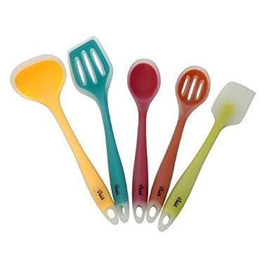Premium Silicone Kitchen Utensil Set, New 5 Piece Cute Cooking Tool Set By YumYum Utensils