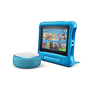 Echo Dot Kids Edition, Blue with Fire 7 Kids Edition Tablet, Blue