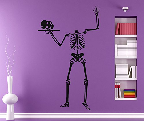 YINGKAI Happy Halloween Personalized Funny Skeleton Cool Wall Decal Living Room Vinyl Carving Wall Decal Sticker for Halloween Party Home Window (Skeleton Carving Art)