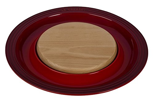 (Le Creuset of America Stoneware Round Platter with Cutting Board, Cerise (Cherry Red))